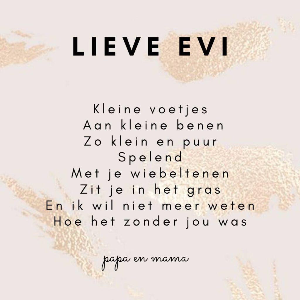 Eerste verjaardag Evi gedicht- jarig voor de eerste keer
