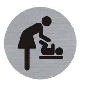 Bordje damestoilet deur verschoonruimte baby